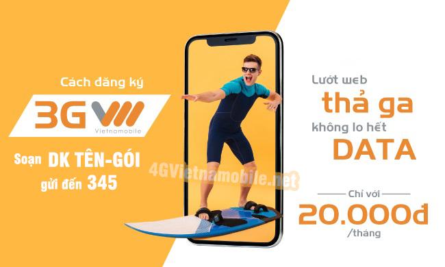 Hướng dẫn cách đăng ký 3G Vietnamobile nhận data khủng mới nhất