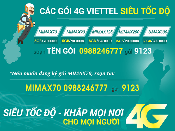 Bảng giá các gói cước 4G Viettel giá rẻ mới nhất