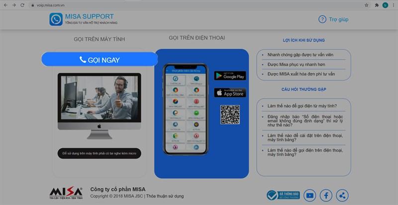 Cách liên hệ tổng đài Misa Support qua máy tính